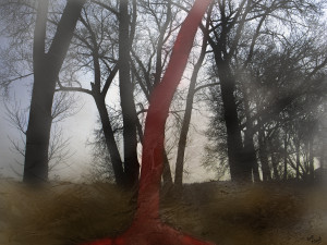 Red tree in a dream